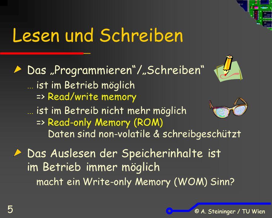 """© A. Steininger / TU Wien 5 Lesen und Schreiben Das """"Programmieren""""/""""Schreiben""""  ist im Betrieb möglich => Read/write memory  ist im Betreib nicht m"""