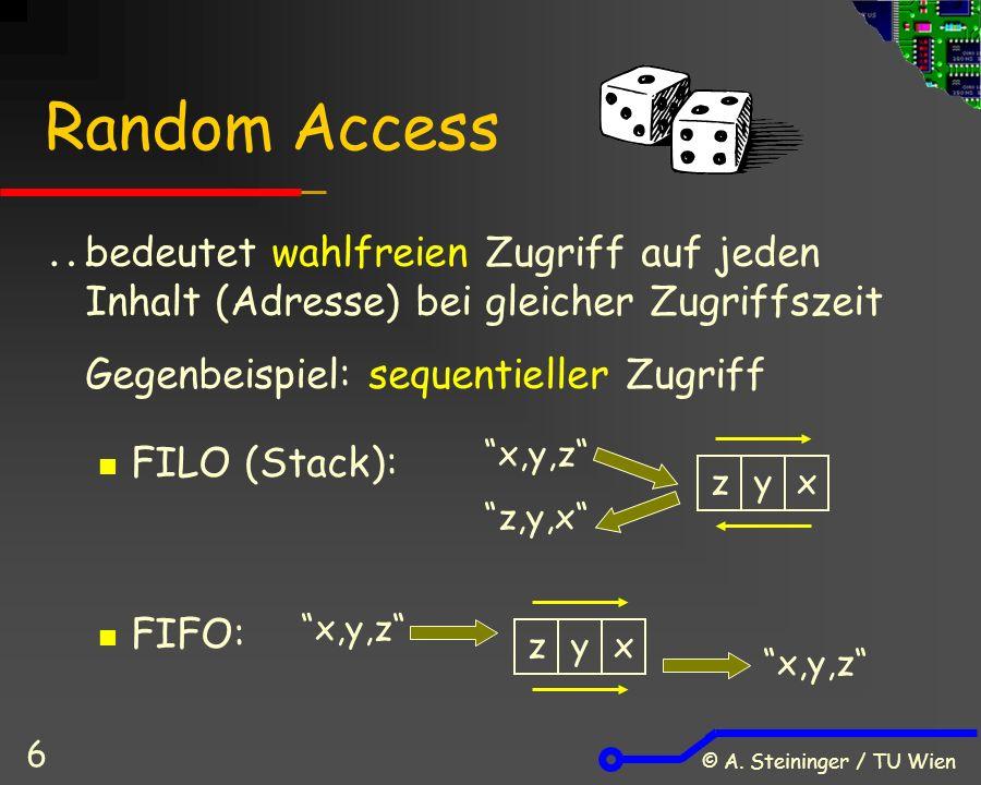 © A. Steininger / TU Wien 6 Random Access  bedeutet wahlfreien Zugriff auf jeden Inhalt (Adresse) bei gleicher Zugriffszeit Gegenbeispiel: sequentiel