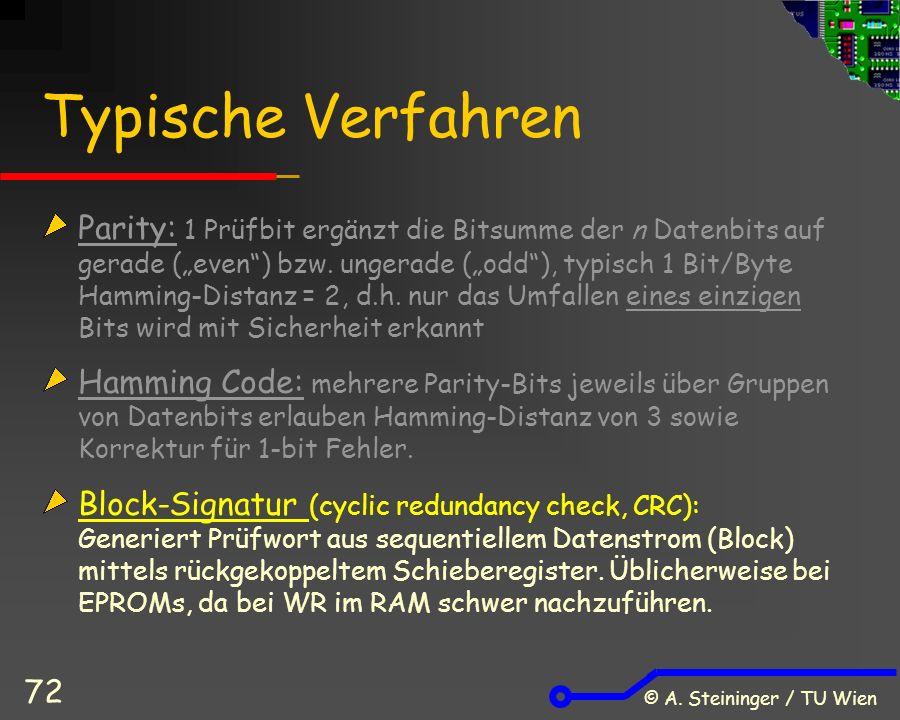 """© A. Steininger / TU Wien 72 Typische Verfahren Parity: 1 Prüfbit ergänzt die Bitsumme der n Datenbits auf gerade (""""even"""") bzw. ungerade (""""odd""""), typi"""