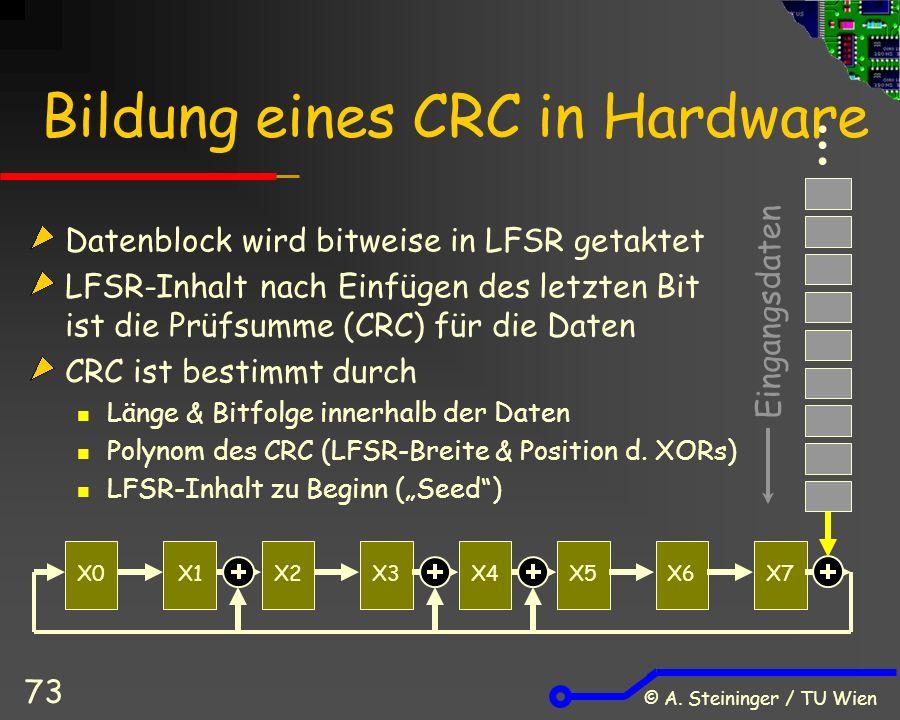 © A. Steininger / TU Wien 73 Bildung eines CRC in Hardware … Eingangsdaten X0X1X2X3X4X5X6X7 Datenblock wird bitweise in LFSR getaktet LFSR-Inhalt nach