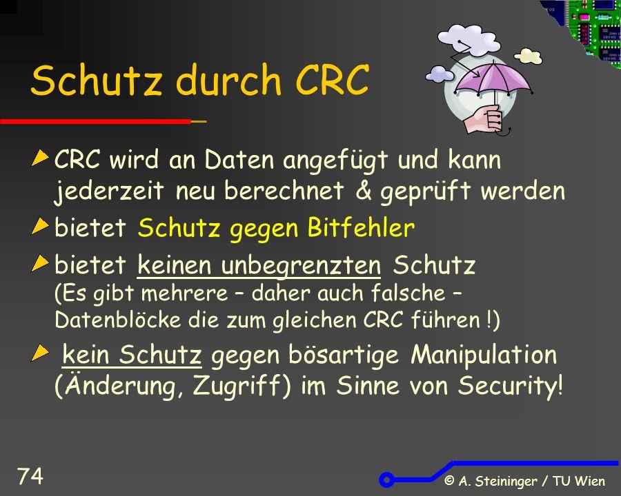 © A. Steininger / TU Wien 74 Schutz durch CRC CRC wird an Daten angefügt und kann jederzeit neu berechnet & geprüft werden bietet Schutz gegen Bitfehl