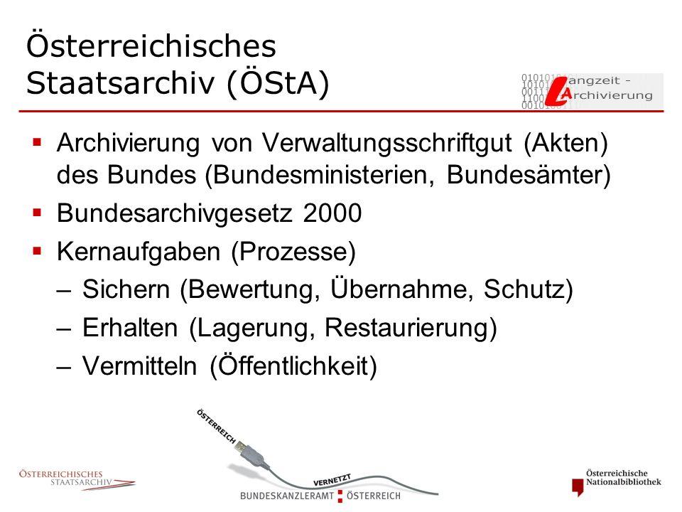  Archivierung von Verwaltungsschriftgut (Akten) des Bundes (Bundesministerien, Bundesämter)  Bundesarchivgesetz 2000  Kernaufgaben (Prozesse) –Sich