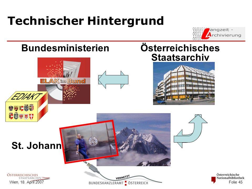 Wien, 18. April 2007 Folie 45 Technischer Hintergrund Österreichisches Staatsarchiv St.