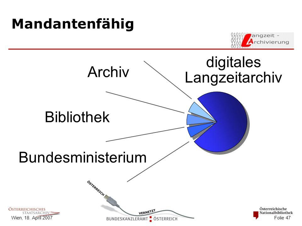 Wien, 18. April 2007 Folie 47 Mandantenfähig Bundesministerium Bibliothek Archiv digitales Langzeitarchiv