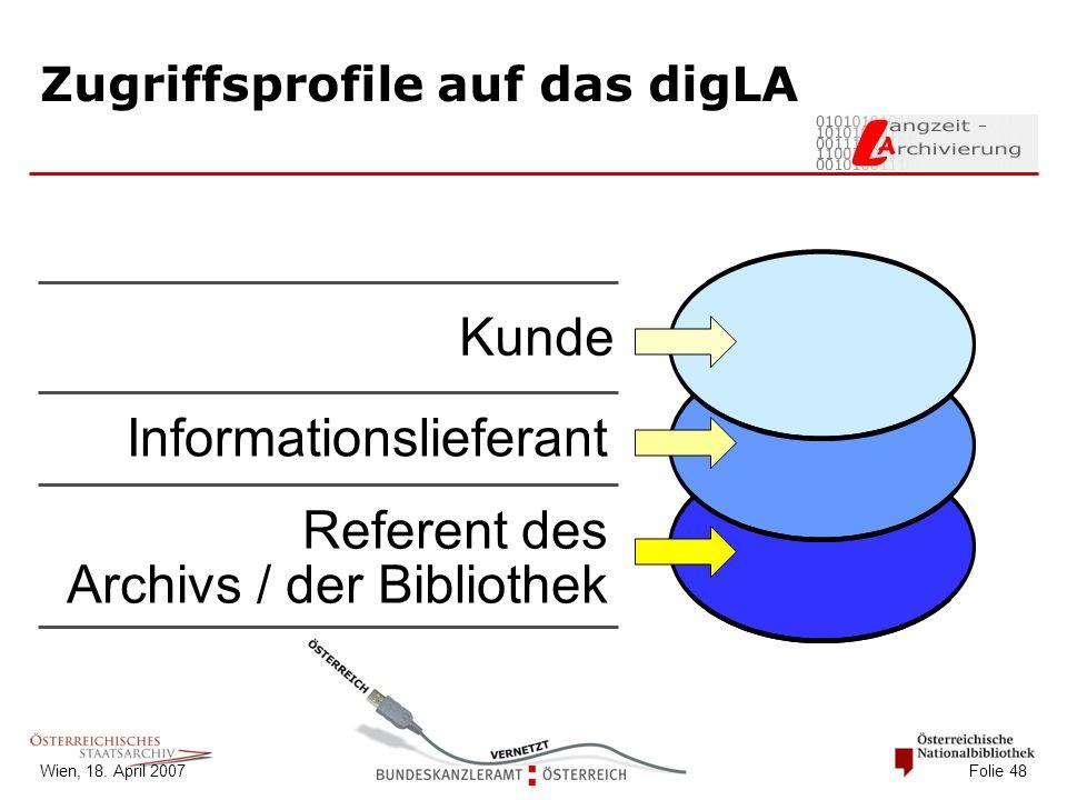 Wien, 18. April 2007 Folie 48 Zugriffsprofile auf das digLA Kunde Informationslieferant Referent des Archivs / der Bibliothek