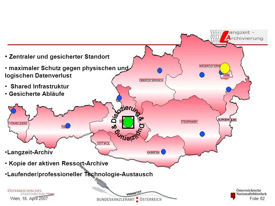 Wien, 18. April 2007 Folie 62 Zentraler und gesicherter Standort maximaler Schutz gegen physischen und logischen Datenverlust Shared Infrastruktur Ges