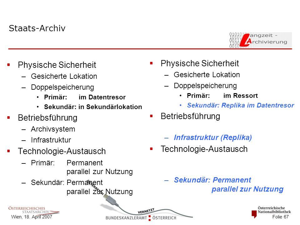 Wien, 18. April 2007 Folie 67 Staats-Archiv Bundes-Archive Länder-Archive  Physische Sicherheit –Gesicherte Lokation –Doppelspeicherung Primär: im Da