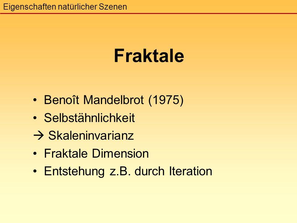 Fraktale Benoît Mandelbrot (1975) Selbstähnlichkeit  Skaleninvarianz Fraktale Dimension Entstehung z.B.