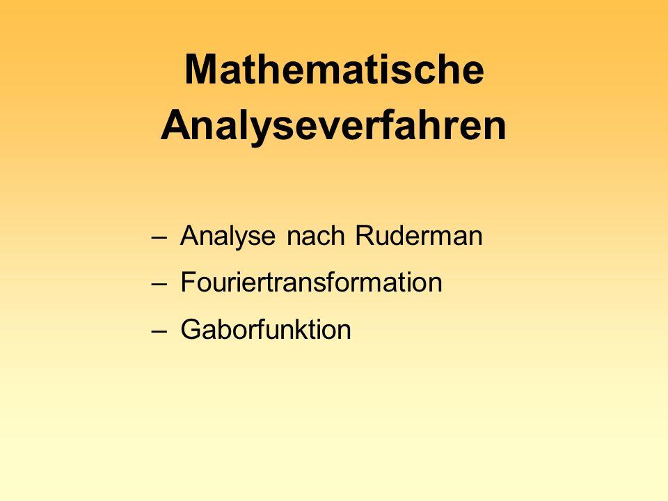 Mathematische Analyseverfahren – Analyse nach Ruderman – Fouriertransformation – Gaborfunktion