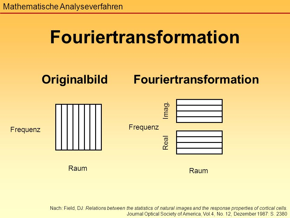 Originalbild Frequenz Raum Fouriertransformation Raum Real Imag.