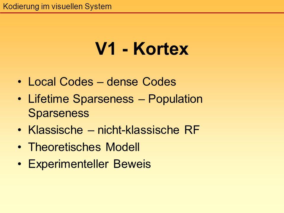 V1 - Kortex Local Codes – dense Codes Kodierung im visuellen System Lifetime Sparseness – Population Sparseness Klassische – nicht-klassische RF Theoretisches Modell Experimenteller Beweis