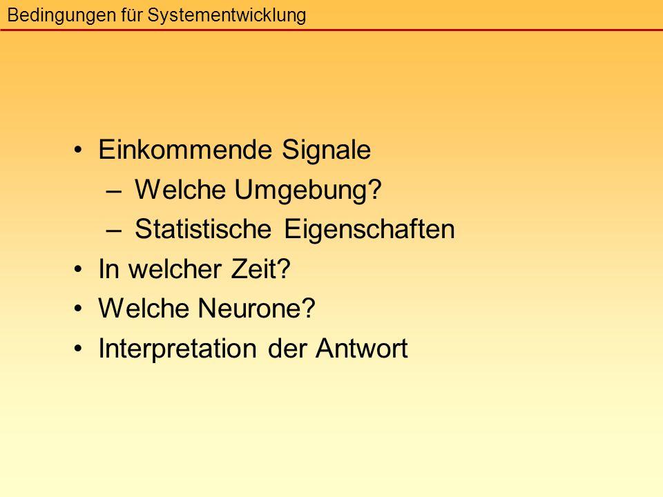 Einkommende Signale – Welche Umgebung. – Statistische Eigenschaften In welcher Zeit.