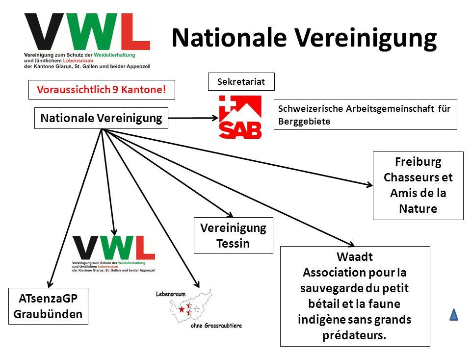 Nationale Vereinigung ATsenzaGP Graubünden Nationale Vereinigung Vereinigung Tessin Waadt Association pour la sauvegarde du petit bétail et la faune i