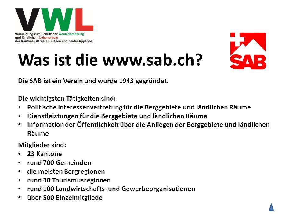 Was ist die www.sab.ch? Die SAB ist ein Verein und wurde 1943 gegründet. Die wichtigsten Tätigkeiten sind: Politische Interessenvertretung für die Ber