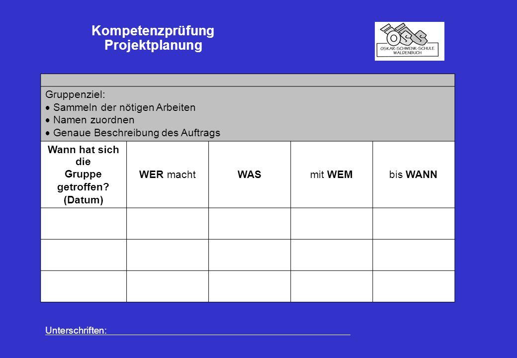 Kompetenzprüfung Projektplanung Gruppenziel:  Sammeln der nötigen Arbeiten  Namen zuordnen  Genaue Beschreibung des Auftrags Wann hat sich die Gruppe getroffen.