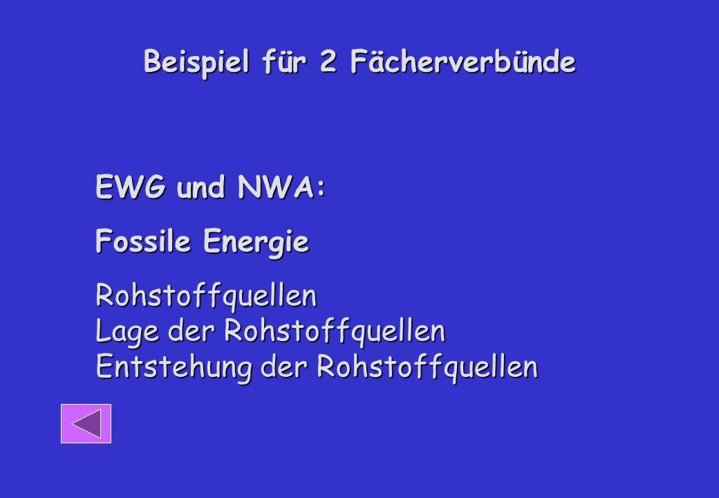 Beispiel für 2 Fächerverbünde EWG und NWA: Fossile Energie Rohstoffquellen Lage der Rohstoffquellen Entstehung der Rohstoffquellen