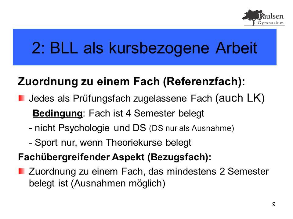10 2: BLL als kursbezogene Arbeit Ablauf: Thema und betreuende Lehrkraft suchen BLL anmelden Thema selbständig erarbeiten – Beratungsangebot wahrnehmen.