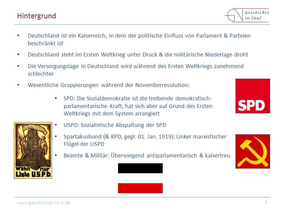 www.geschichte-in-5.de Hintergrund Deutschland ist ein Kaiserreich, in dem der politische Einfluss von Parlament & Parteien beschränkt ist Deutschland steht im Ersten Weltkrieg unter Druck & die militärische Niederlage droht Die Versorgungslage in Deutschland wird während des Ersten Weltkriegs zunehmend schlechter Wesentliche Gruppierungen während der Novemberrevolution: 3 SPD: Die Sozialdemokratie ist die treibende demokratisch- parlamentarische Kraft, hat sich aber auf Grund des Ersten Weltkriegs mit dem System arrangiert USPD: Sozialistische Abspaltung der SPD Spartakusbund (& KPD, gegr.