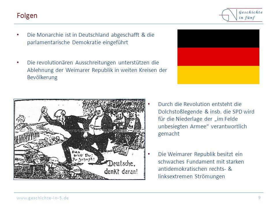 www.geschichte-in-5.de Folgen Die Monarchie ist in Deutschland abgeschafft & die parlamentarische Demokratie eingeführt Die revolutionären Ausschreitungen unterstützen die Ablehnung der Weimarer Republik in weiten Kreisen der Bevölkerung 9 Durch die Revolution entsteht die Dolchstoßlegende & insb.