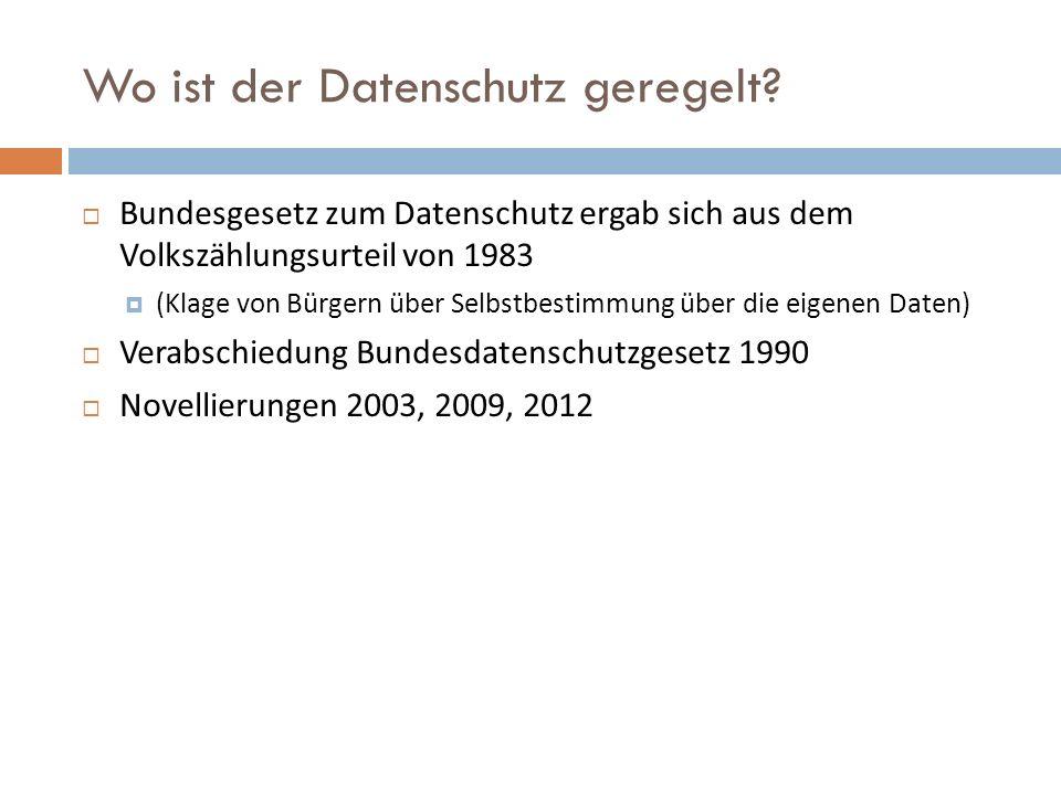Wo ist der Datenschutz geregelt?  Bundesgesetz zum Datenschutz ergab sich aus dem Volkszählungsurteil von 1983  (Klage von Bürgern über Selbstbestim