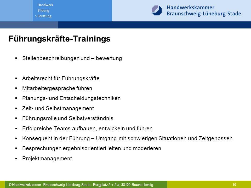 © Handwerkskammer Braunschweig-Lüneburg-Stade, Burgplatz 2 + 2 a, 38100 Braunschweig Führungskräfte-Trainings  Stellenbeschreibungen und – bewertung