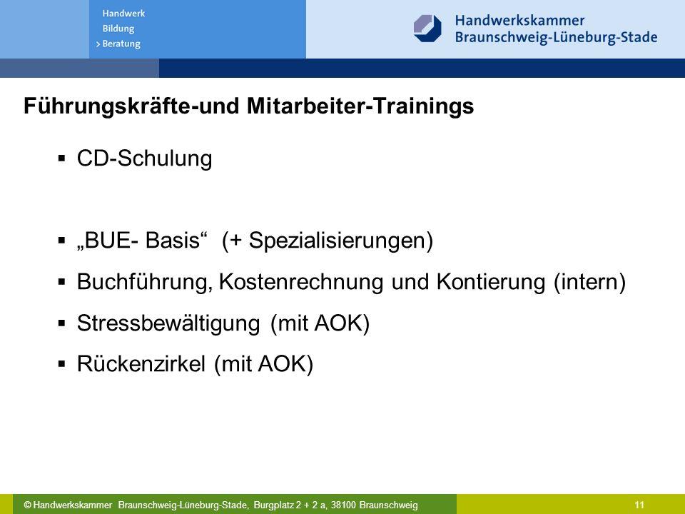 """© Handwerkskammer Braunschweig-Lüneburg-Stade, Burgplatz 2 + 2 a, 38100 Braunschweig Führungskräfte-und Mitarbeiter-Trainings  CD-Schulung  """"BUE- Ba"""