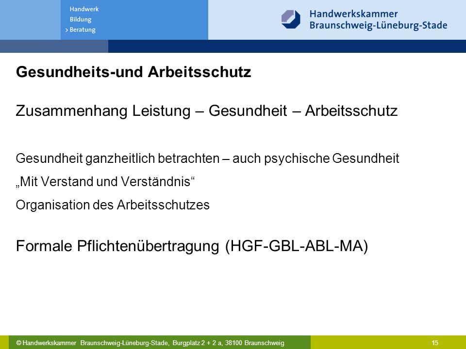 © Handwerkskammer Braunschweig-Lüneburg-Stade, Burgplatz 2 + 2 a, 38100 Braunschweig Gesundheits-und Arbeitsschutz Zusammenhang Leistung – Gesundheit