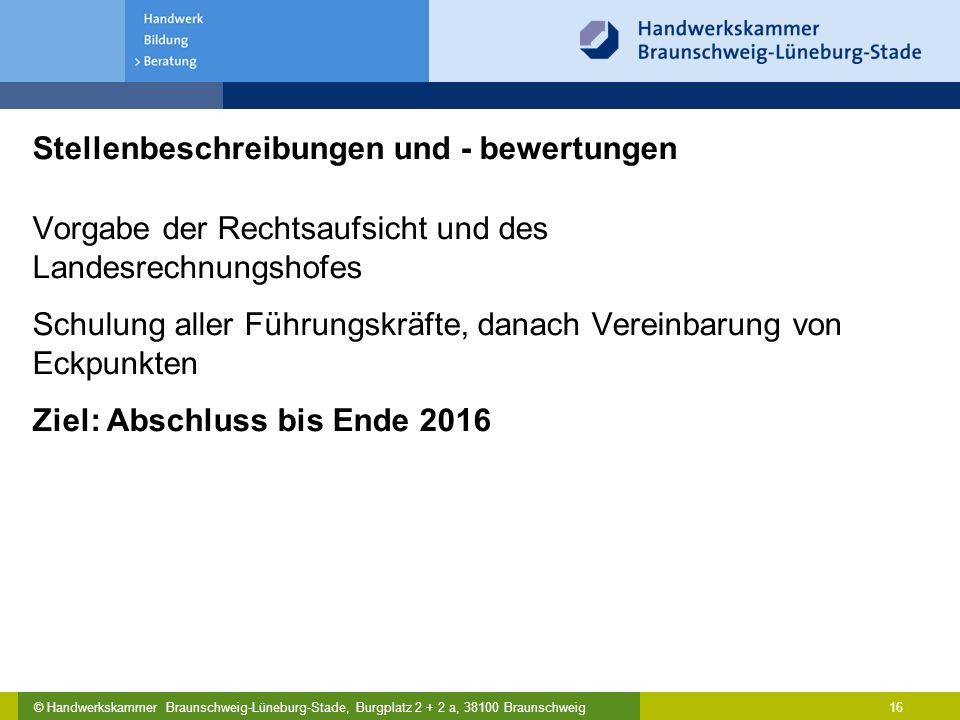 © Handwerkskammer Braunschweig-Lüneburg-Stade, Burgplatz 2 + 2 a, 38100 Braunschweig Stellenbeschreibungen und - bewertungen Vorgabe der Rechtsaufsich