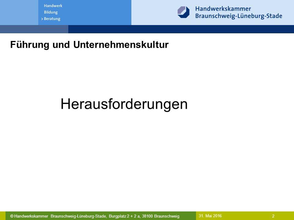 © Handwerkskammer Braunschweig-Lüneburg-Stade, Burgplatz 2 + 2 a, 38100 Braunschweig Führung und Unternehmenskultur 31. Mai 2016 2 Herausforderungen