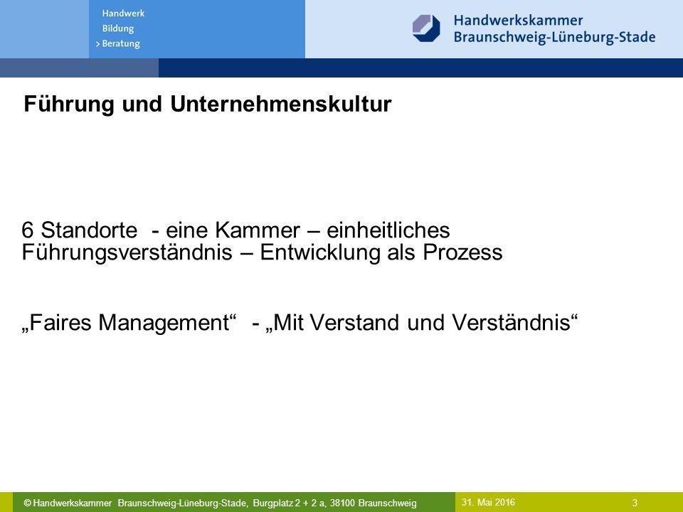 © Handwerkskammer Braunschweig-Lüneburg-Stade, Burgplatz 2 + 2 a, 38100 Braunschweig Führung und Unternehmenskultur 31. Mai 2016 3 6 Standorte - eine
