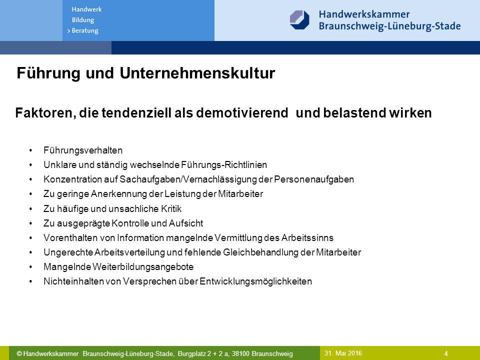 © Handwerkskammer Braunschweig-Lüneburg-Stade, Burgplatz 2 + 2 a, 38100 Braunschweig Führung und Unternehmenskultur 31. Mai 2016 4 Faktoren, die tende