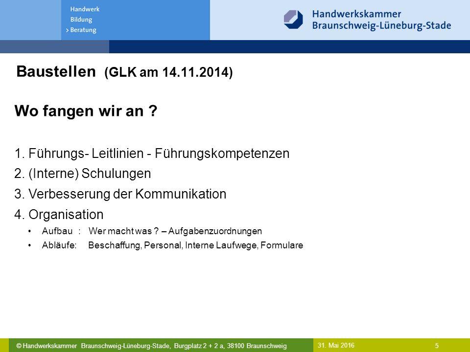 © Handwerkskammer Braunschweig-Lüneburg-Stade, Burgplatz 2 + 2 a, 38100 Braunschweig Baustellen (GLK am 14.11.2014) 31. Mai 2016 5 Wo fangen wir an ?