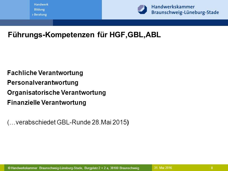 © Handwerkskammer Braunschweig-Lüneburg-Stade, Burgplatz 2 + 2 a, 38100 Braunschweig Führungs-Kompetenzen für HGF,GBL,ABL 31. Mai 2016 8 Fachliche Ver