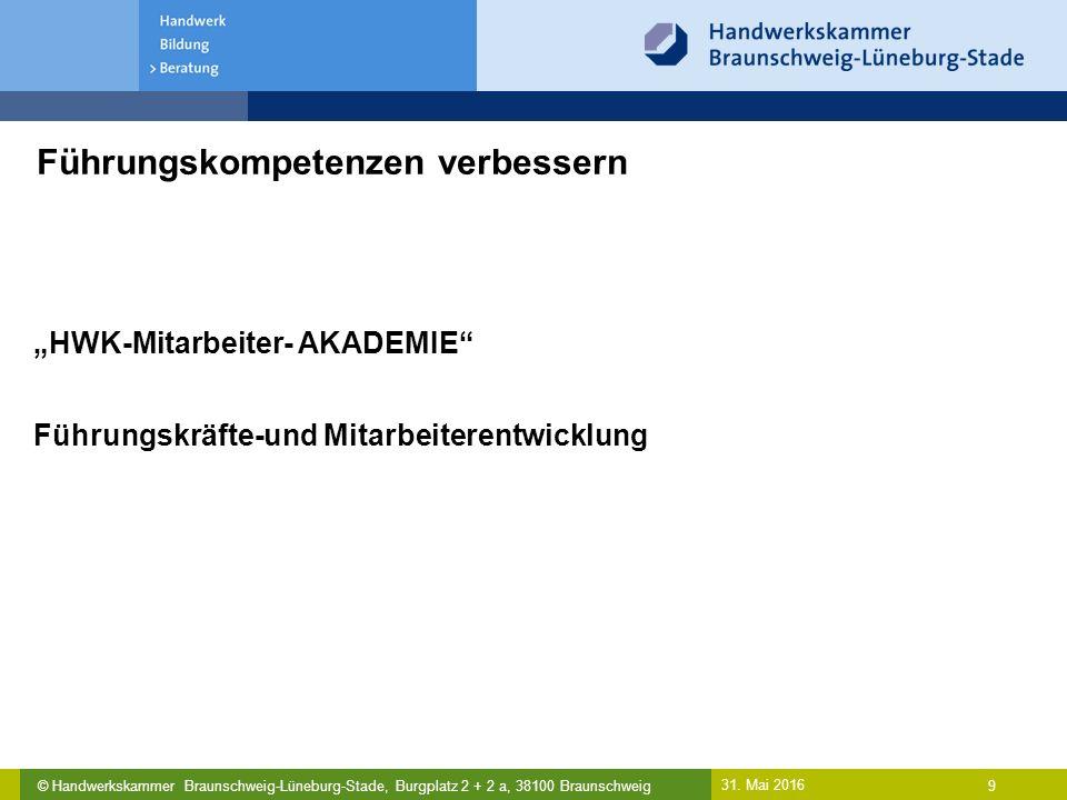 """© Handwerkskammer Braunschweig-Lüneburg-Stade, Burgplatz 2 + 2 a, 38100 Braunschweig Führungskompetenzen verbessern 31. Mai 2016 9 """"HWK-Mitarbeiter- A"""