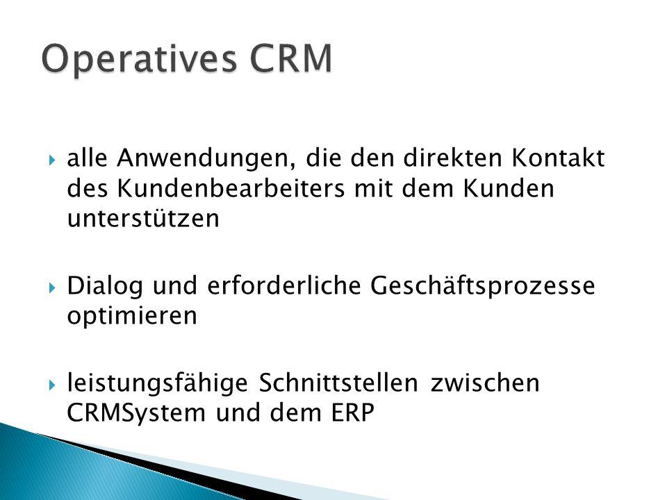  alle Anwendungen, die den direkten Kontakt des Kundenbearbeiters mit dem Kunden unterstützen  Dialog und erforderliche Geschäftsprozesse optimieren  leistungsfähige Schnittstellen zwischen CRMSystem und dem ERP
