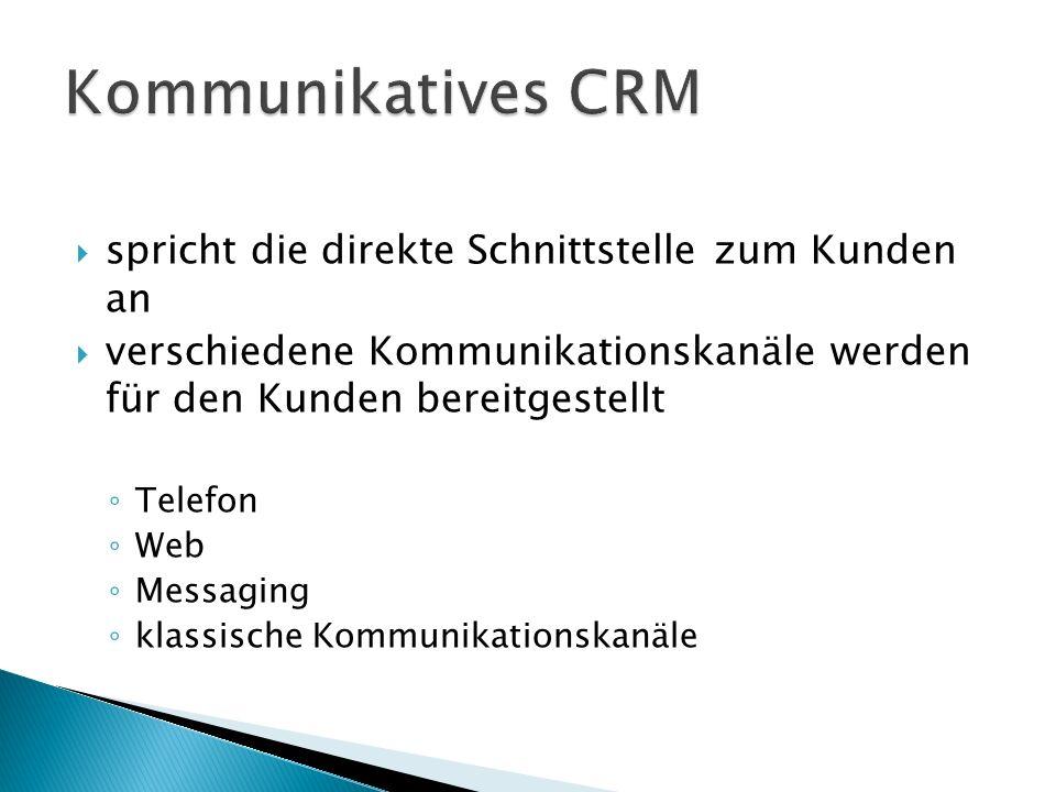  spricht die direkte Schnittstelle zum Kunden an  verschiedene Kommunikationskanäle werden für den Kunden bereitgestellt ◦ Telefon ◦ Web ◦ Messaging ◦ klassische Kommunikationskanäle