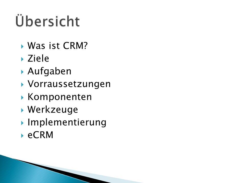  Was ist CRM?  Ziele  Aufgaben  Vorraussetzungen  Komponenten  Werkzeuge  Implementierung  eCRM