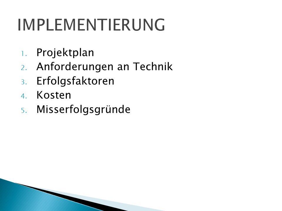 1. Projektplan 2. Anforderungen an Technik 3. Erfolgsfaktoren 4. Kosten 5. Misserfolgsgründe
