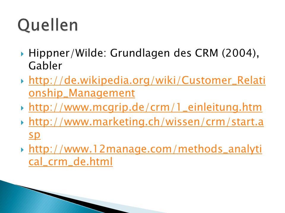  Hippner/Wilde: Grundlagen des CRM (2004), Gabler  http://de.wikipedia.org/wiki/Customer_Relati onship_Management http://de.wikipedia.org/wiki/Customer_Relati onship_Management  http://www.mcgrip.de/crm/1_einleitung.htm http://www.mcgrip.de/crm/1_einleitung.htm  http://www.marketing.ch/wissen/crm/start.a sp http://www.marketing.ch/wissen/crm/start.a sp  http://www.12manage.com/methods_analyti cal_crm_de.html http://www.12manage.com/methods_analyti cal_crm_de.htmlQuellen