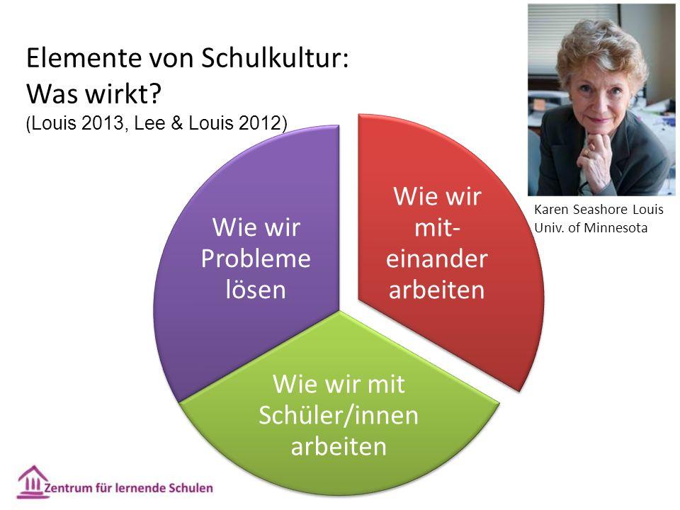 Wie wir mit- einander arbeiten Wie wir mit Schüler/innen arbeiten Wie wir Probleme lösen Elemente von Schulkultur: Was wirkt? ( Louis 2013, Lee & Loui