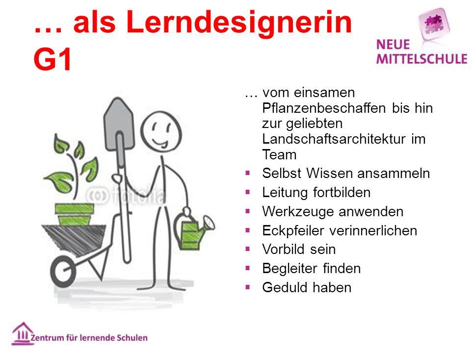 … als Lerndesignerin G1 … vom einsamen Pflanzenbeschaffen bis hin zur geliebten Landschaftsarchitektur im Team  Selbst Wissen ansammeln  Leitung for