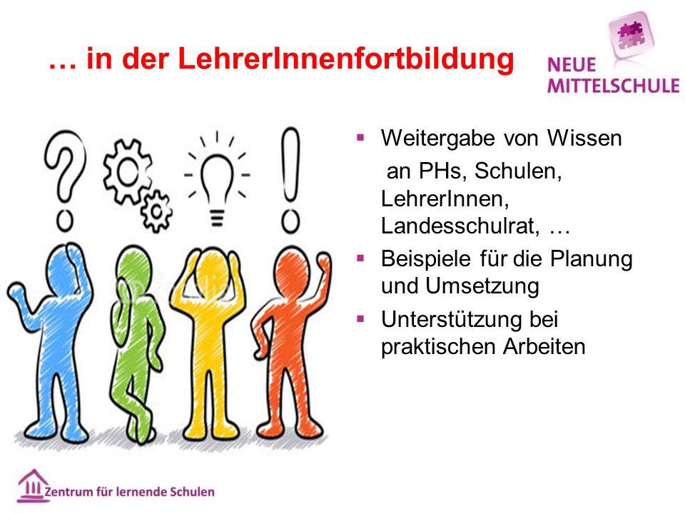… in der LehrerInnenfortbildung  Weitergabe von Wissen an PHs, Schulen, LehrerInnen, Landesschulrat, …  Beispiele für die Planung und Umsetzung  Un