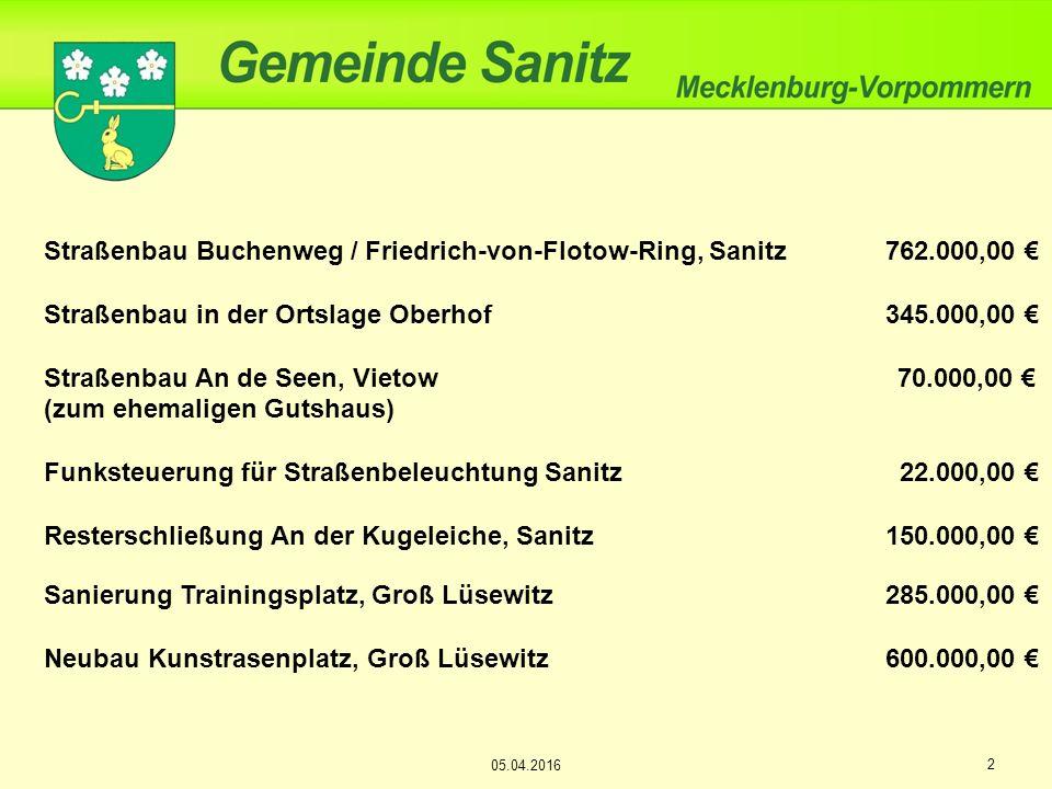 Straßenbau Buchenweg / Friedrich-von-Flotow-Ring, Sanitz762.000,00 € Straßenbau in der Ortslage Oberhof345.000,00 € Straßenbau An de Seen, Vietow 70.0