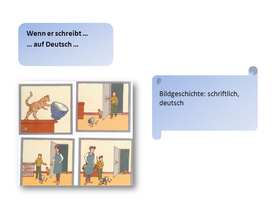 2) Bildgeschichte: mündlich, deutsch Wenn er selbst zu Wort kommt … … auf Deutsch … siehe Anhang: Transkript Nikmo Bildgeschichte