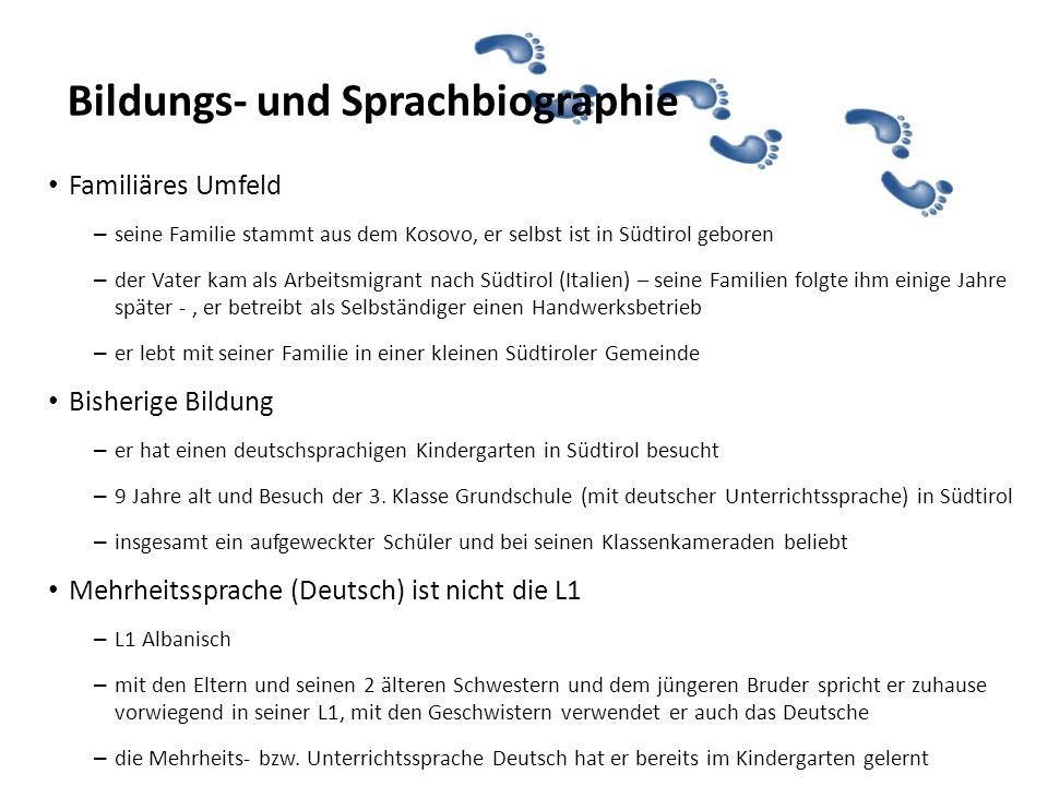 Profil (2) männlich 9 Jahre alt seit der Geburt in Südtirol (Italien) L1 Albanisch weitere Sprachen: Deutsch, Italienisch … Pago *Name geändert Nikmo