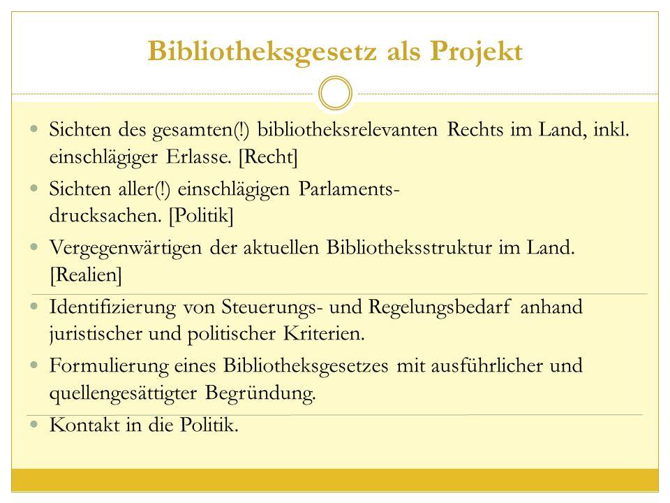 Bibliotheksgesetz als Projekt Sichten des gesamten(!) bibliotheksrelevanten Rechts im Land, inkl.