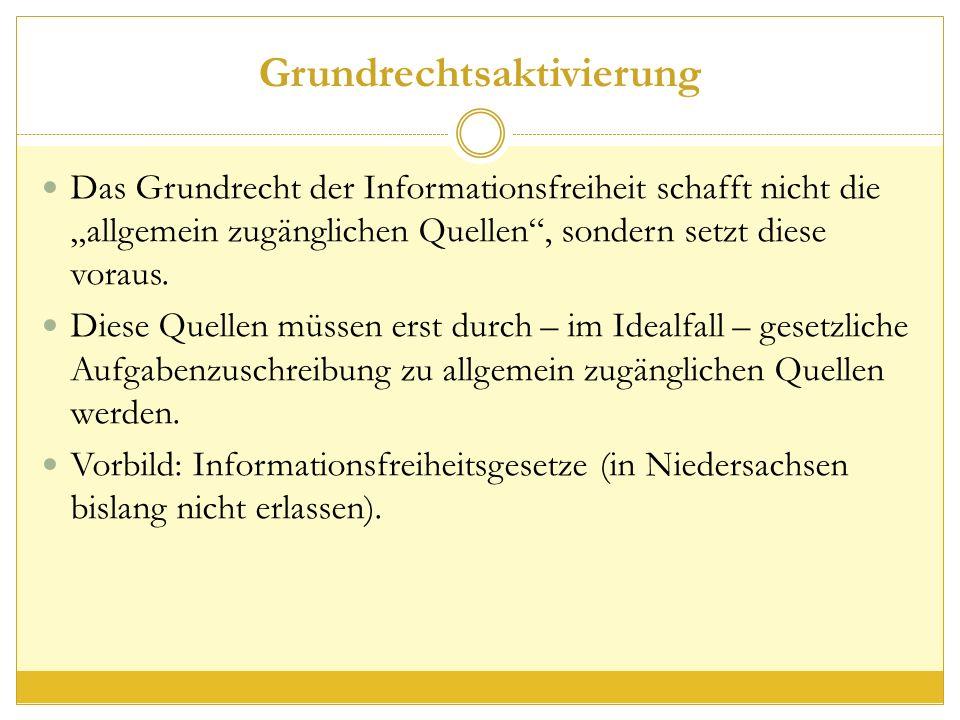 """Grundrechtsaktivierung Das Grundrecht der Informationsfreiheit schafft nicht die """"allgemein zugänglichen Quellen , sondern setzt diese voraus."""
