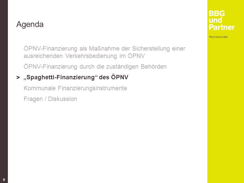 """Rechtsanwälte 8 Agenda ÖPNV-Finanzierung als Maßnahme der Sicherstellung einer ausreichenden Verkehrsbedienung im ÖPNV ÖPNV-Finanzierung durch die zuständigen Behörden > """"Spaghetti-Finanzierung des ÖPNV Kommunale Finanzierungsinstrumente Fragen / Diskussion"""