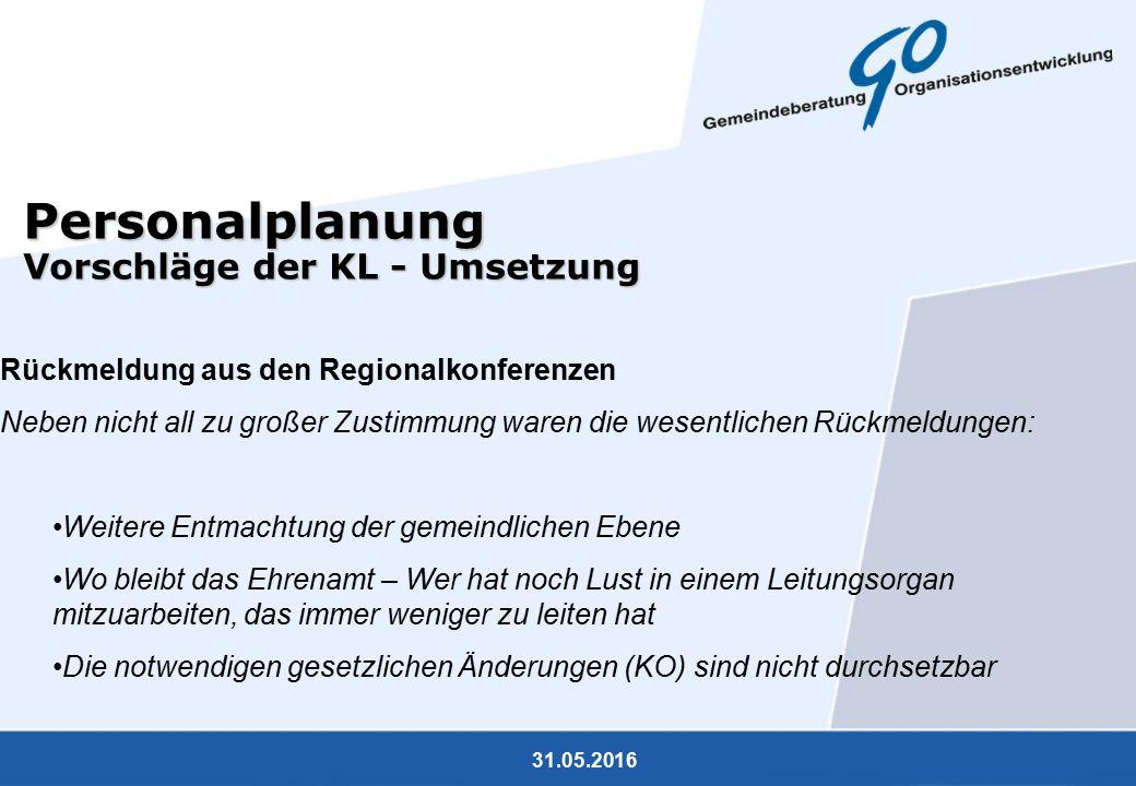 31.05.2016 Personalplanung Vorschläge der KL - Umsetzung Rückmeldung aus den Regionalkonferenzen Neben nicht all zu großer Zustimmung waren die wesent