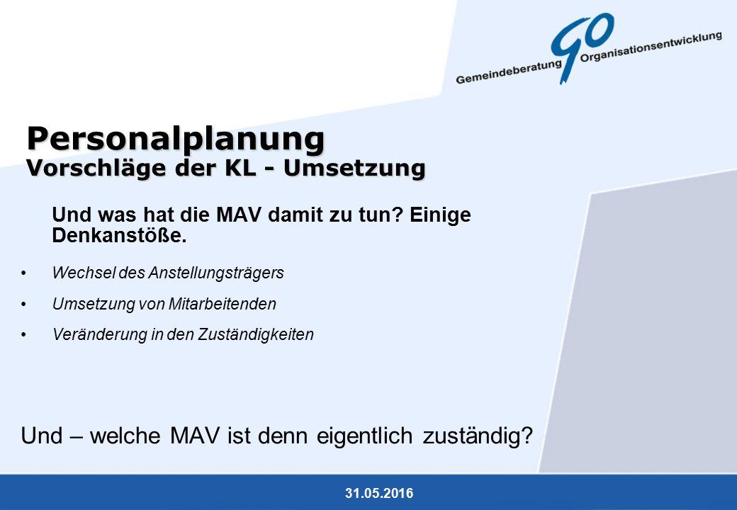 31.05.2016 Personalplanung Vorschläge der KL - Umsetzung Und was hat die MAV damit zu tun? Einige Denkanstöße. Wechsel des Anstellungsträgers Umsetzun